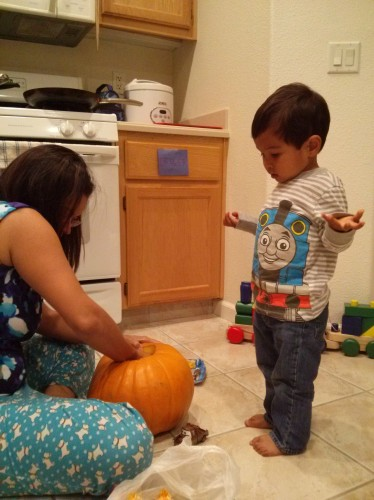 """""""I want to carve the pumpkin. I want you to scoop all the things out and put it over there."""""""