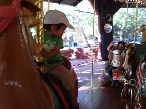 First, we rode the horsie carousel