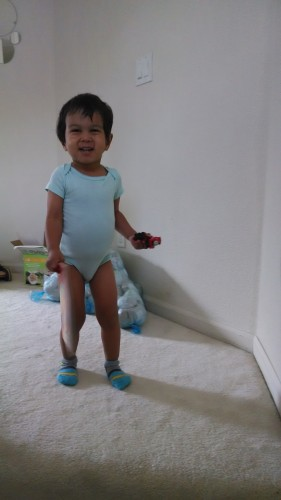 """""""After he peed on himself twice, I had nothing else to put on him... Julia's onesie to the rescue, lol"""""""