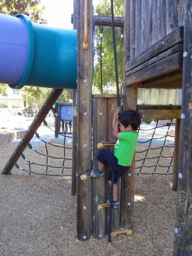 """""""I can climb up the rope all by myself... Daddy! Help! Help!"""""""