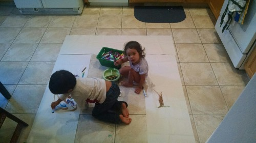 Drawing on the kitchen floor