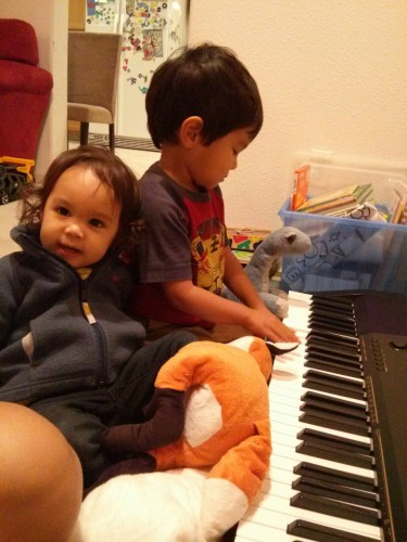"""At first you were happy to bang on it with J. Slapping multiple keys with each hand. """"Now Dino's playing too."""""""