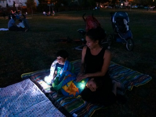 """j's first 4th of July Fireworks at the park by the house. j: """"I am a little scared and a little excited."""""""