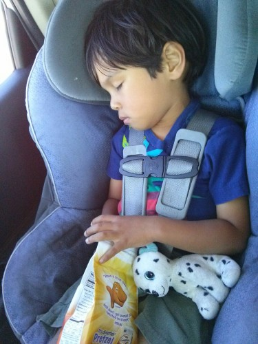 After a fun day. Dozed off with hand still in goldfish. You woke up the first time I tried to pull the bag away.
