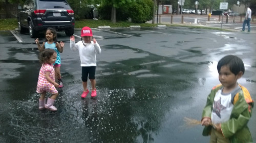 Puddle stomping after school. Rare rainfall during the drought