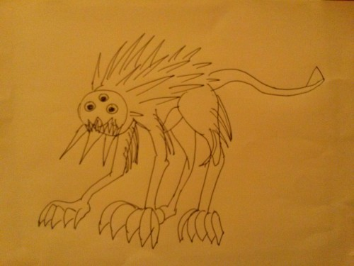 """You dreamt of your first monster and this is what it looked like. You stopped outside of the bathroom and said, """"I'm too tired to throw the floss away."""""""