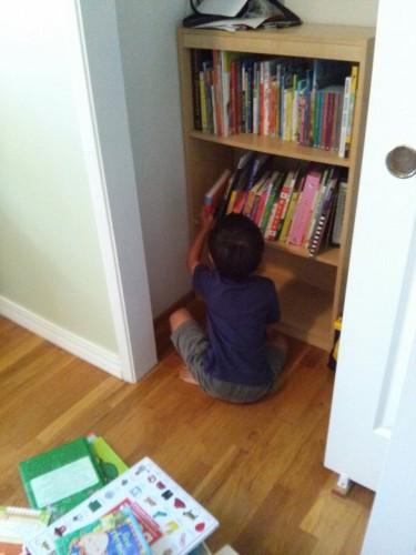 Unpacking books into bookshelf