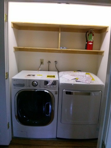 All our appliances barely fit in the cubbies. Appliances have gotten bigger since this house was built. The laundry room door closes in less than an inch from the front of the washer/dryer.