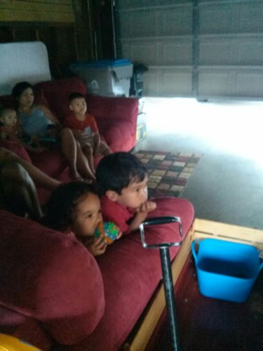 Watching Little Prince in the garage